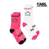 KARL LAGERFELD KARL地址LOGO運動休閒襪組-白/粉