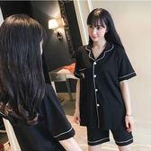 正韓睡衣女夏季純棉短袖短褲黑色性感情侶休閒寬鬆開衫家居服套裝