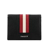 【BALLY】Talder 防刮皮革紅白條紋二折名片/卡片夾(黑色) 6226438 10