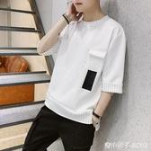 七分袖衣服男士韓版潮流夏季工裝短袖T恤學生圓領套頭上衣男潮流 青木鋪子