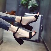 夏季涼鞋舒適中跟百搭一字扣粗跟高跟鞋【多多鞋包店】z7979