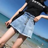 牛仔短褲裙女夏高腰2020新款寬鬆大碼胖mm闊腿裙褲chic顯瘦熱褲潮