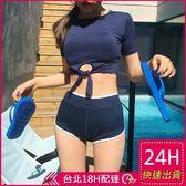 梨卡★現貨 - 甜美氣質[集中鋼圈]純色綁帶短褲式兩件式泳裝比基尼二件式泳衣CR253