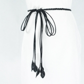 腰繩皮帶 素色 長流蘇 裝飾 細版 腰繩 綁帶 打結 編織 腰帶【FJYEZ-S】 icoca 10/25