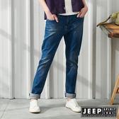 【JEEP】女裝 復古高腰洗舊刷色牛仔褲-藍色