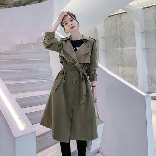 風衣大衣-長款格子拼接雙排扣繫帶女外套73yt10【巴黎精品】