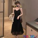 吊帶連身裙 吊帶連身裙女2021春季新款V領收腰顯瘦氣質蕾絲網紗小黑無袖長裙寶貝計畫 上新