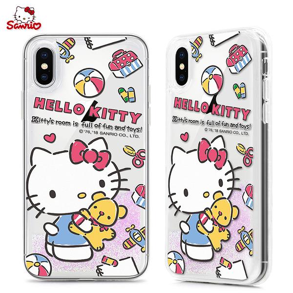King*Shop~HelloKitty新款iPhoneX流沙手機殼蘋果8Plus卡通創意防摔7P保護套