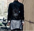 FINDSENSE品牌 男 時尚 街頭 潮 網紗拼接 後背幾何印花 長袖襯衫 特