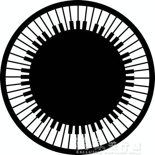圓形地毯黑白圓形鋼琴鍵盤地毯鋼琴音符地墊鋼琴凳防滑墊凳腳墊三角琴轉椅YJT 快速出貨
