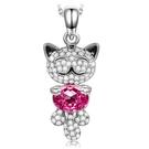 NINASUN【日本代購】施華洛世奇項鍊貓招手♥♥貓粉水晶情人節禮物AAAA氧化鋯白金鍊墜