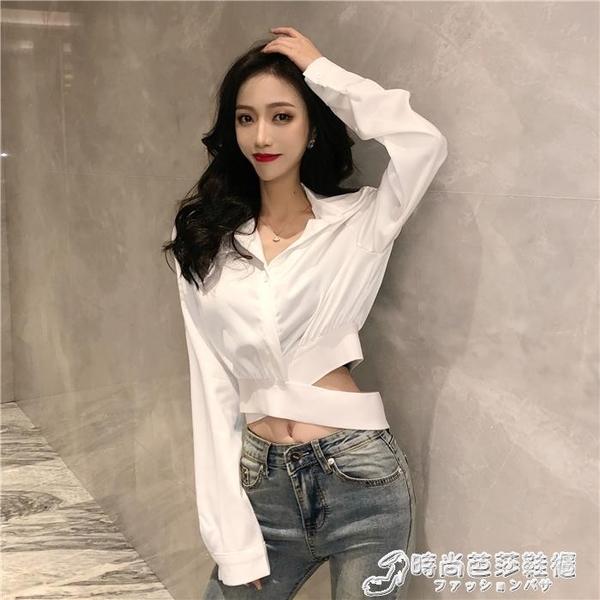 洋氣白襯衣女秋季新款韓版小心機西裝領腰部交叉短款露臍襯衫上衣 時尚芭莎