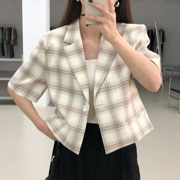 韓國CHIC夏季法式百搭翻領一粒扣寬松薄款短袖開衫格子小西裝外套