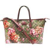 【GUCCI 古馳】410748 Blooms天竺葵印花購物袋(棗紅色/烏木色)