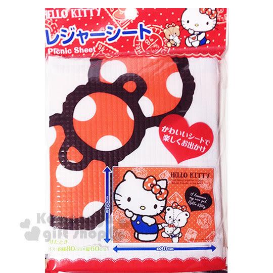 〔小禮堂〕Hello Kitty 野餐墊《S.紅.經典吊帶褲》60x80cm.單人用尺寸.銅板小物 4573135-57459