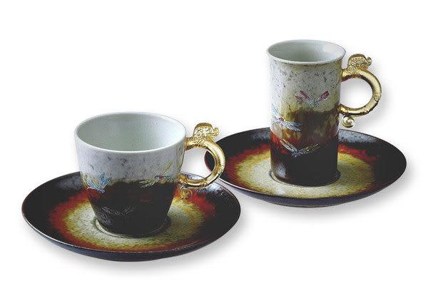 鹿港窯~ 琉璃耳 陶藝咖啡杯【蜻蜓對杯】(二杯二盤)附精美包裝◆免運費送到家