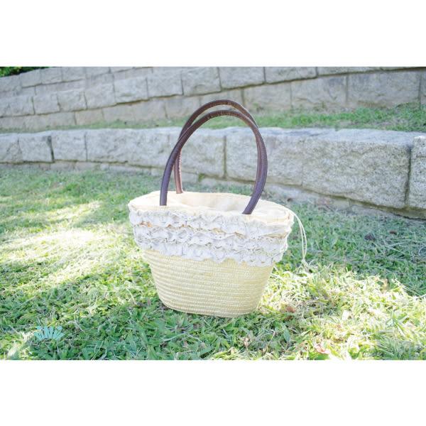 viNvi Lady 蕾絲滾邊束口內袋草編側背包 野餐包