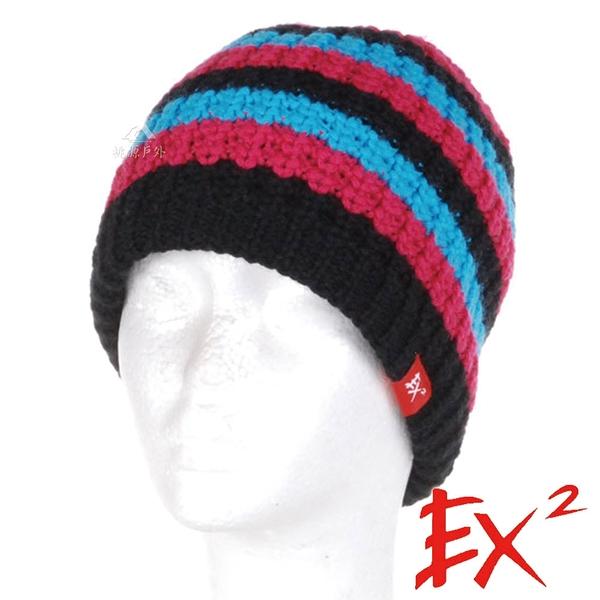EX2 青少年條紋針織帽『藍紅』(54-56cm) 針織帽.造型帽.毛帽.毛線帽.帽子.禦寒.防寒.保暖 352414