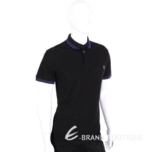 VERSACE 黑色滾邊設計刺繡圖騰短袖POLO衫 1620425-80