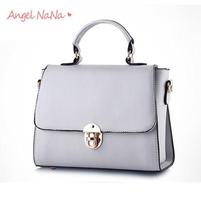 手提包。AngelNaNa 小香風 簡約鎖扣 復古 女斜背包 小包包(SBA0153)