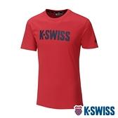 【超取】K-SWISS Contrast Logo Tee棉質吸排T恤-男-紅