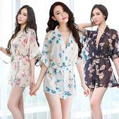 薄款印花日本和服騷睡袍大碼情趣內衣小胸透明睡衣制服sm激情套裝 溫婉韓衣
