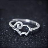 戒指 925純銀 鑲鑽-精美綿羊生日情人節禮物女開口戒73dt462【時尚巴黎】