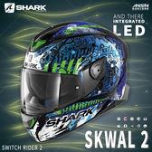 [中壢安信]法國 SHARK SKWAL 2 彩繪 SWITCH RIDER 2 黑藍綠 新版 LED 全罩 安全帽