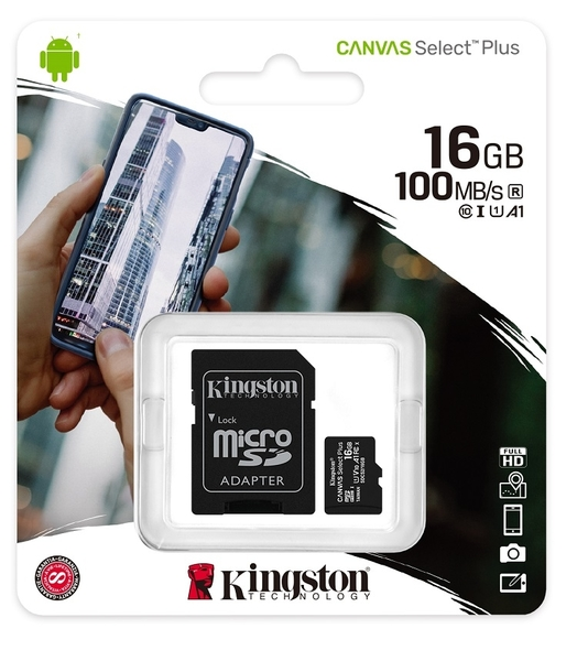 KINGSTON 16GB 16G microSDHC【100MB/s-Plus】microSD SDHC micro SD UHS U1 TF C10 Class10 SDCS2/16GB 金士頓 手機記憶卡
