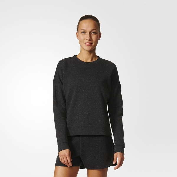 ADIDAS WOMEN'S STADIUM 女裝 上衣 長袖 T恤 運動 休閒 短版 舒適 灰 【運動世界】B47322