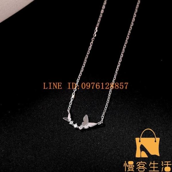 925純銀鑲鉆雙蝴蝶項鏈鎖骨鏈復古法式優雅脖子鏈【慢客生活】