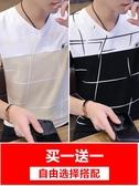 短袖男v領t恤個性潮流夏裝男士上衣