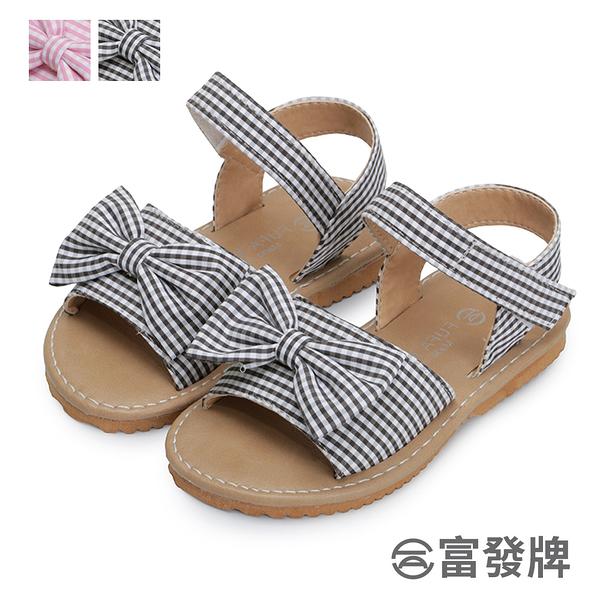 【富發牌】俏皮格紋蝶結兒童涼鞋-黑/粉 33ML113