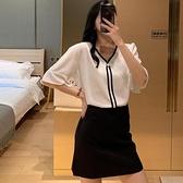 單件上衣~短袖襯衫~時尚套裝女女裝年赫本輕熟風上衣一步裙兩件套女MB125B日韓屋