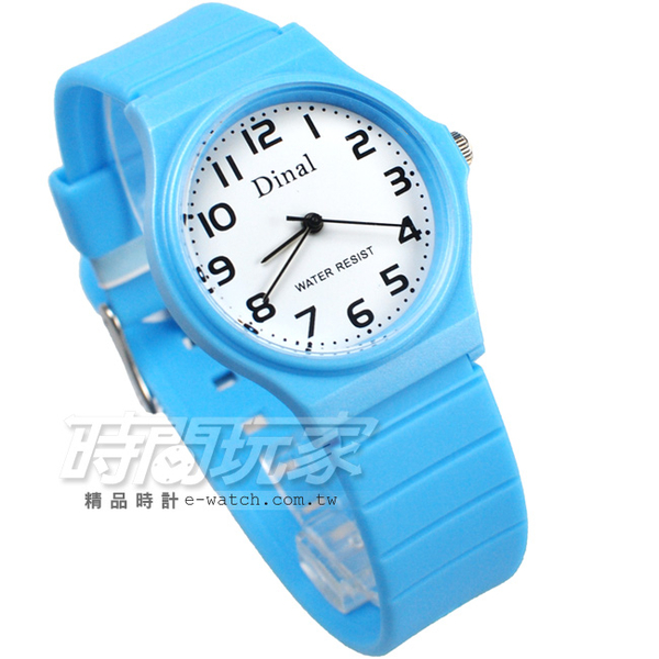 Dinal 時尚數字 簡單腕錶 防水手錶 數字錶 男錶 女錶 學生錶 中性錶 學生錶 藍 D1307水藍