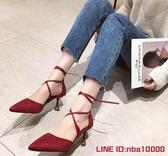 羅馬涼鞋仙女夏季新款韓版百搭網紅色尖頭綁帶細跟少女高跟鞋