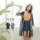 (現貨-深藍)PUFII-罩衫 圖騰袖綁帶開襟雪紡罩衫 2色-0315 現+預 春【ZP14233】