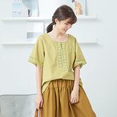 【慢。生活】蕾絲鏤空拼接袖上衣-F 20616 FREE黃色
