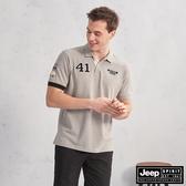 【JEEP】吸濕排汗簡約圖騰短袖POLO衫(灰色)