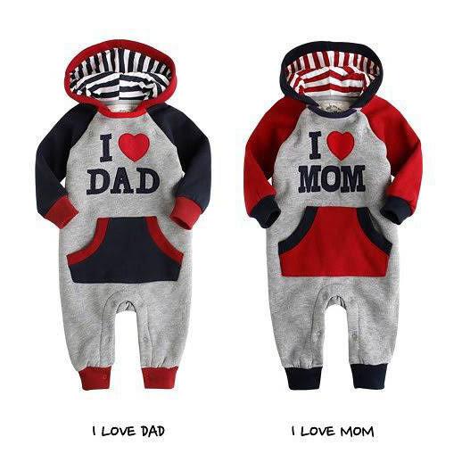 我愛爸爸媽媽連身長褲包屁衣 童裝 衣服聖誕 橘魔法Baby magic 現貨 兒童