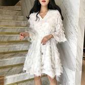 洋裝 韓國超仙V領雪紡流蘇寬鬆顯瘦氣質a字娃娃裙chic小清新洋氣連身裙【限時八八折】
