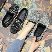 樂福鞋  水鑽豆豆鞋女亮片復古方頭平底樂福鞋社會單鞋  瑪奇哈朵