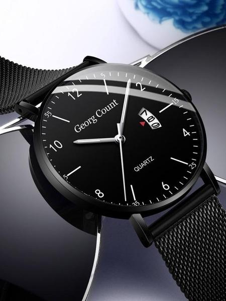 蟲洞概念高中全自動超薄手錶男學生石英錶潮流初中機械錶防水男錶  夏季新品