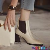 99免運 高跟短靴 歐洲站2021秋冬方頭切爾西靴女高跟靴子及踝靴真皮女鞋粗跟短靴女 【寶貝計畫】