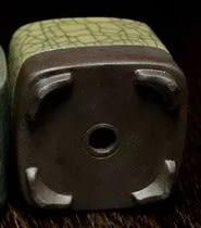 [協貿國際]  米黃黑線半釉青瓷方形小花盆植物盆 (1入)