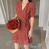 洋裝2021新款法式復古裹身裙收腰顯瘦潮碎花裙V領雪紡短連身裙女夏 町目家
