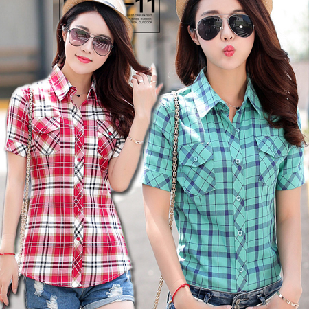 熱賣推薦 修身雙口袋格紋襯衫 短袖襯衫 百搭經典格子襯衫 14色 M-3XL碼【BC13014】