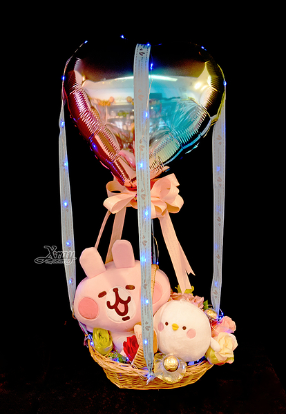 卡娜赫拉xP助抱吐司幸福熱氣球,金莎花束/情人節禮物/婚禮佈置/派對慶生,節慶王【Y066255】