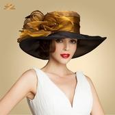 帽子 歐根紗大沿女帽歐美馬會女士大檐原創英倫百搭優雅正裝禮帽