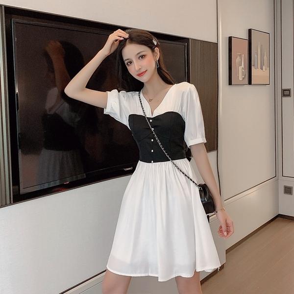 拼接單排釦長版短袖洋裝